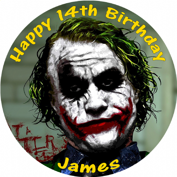 JOKER DARK KNIGHT EDIBLE ROUND BIRTHDAY CAKE PERSONALISED DECORATION